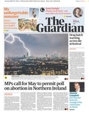 The Guardian (UK) Newspaper Front Page for 28 May 2018
