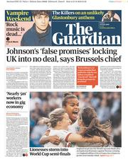 The Guardian (UK) Newspaper Front Page for 28 June 2019