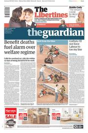 The Guardian (UK) Newspaper Front Page for 28 August 2015