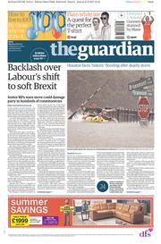 The Guardian (UK) Newspaper Front Page for 28 August 2017