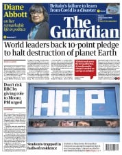 The Guardian front page for 28 September 2020