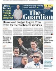 The Guardian (UK) Newspaper Front Page for 29 October 2018