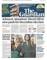 The Guardian (UK) Newspaper Front Page for 29 October 2019