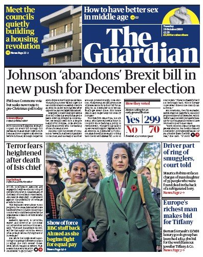 The Guardian Newspaper Front Page (UK) for 29 October 2019
