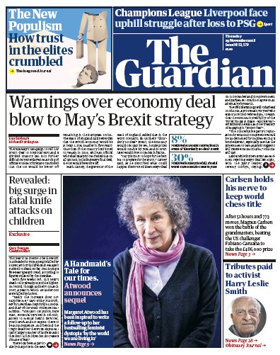 The Guardian Newspaper Front Page (UK) for 29 November 2018