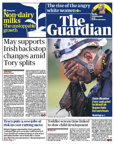 The Guardian Newspaper Front Page (UK) for 29 January 2019