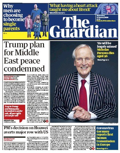The Guardian Newspaper Front Page (UK) for 29 January 2020