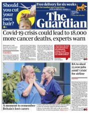 The Guardian (UK) Newspaper Front Page for 29 April 2020