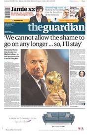 The Guardian (UK) Newspaper Front Page for 29 May 2015