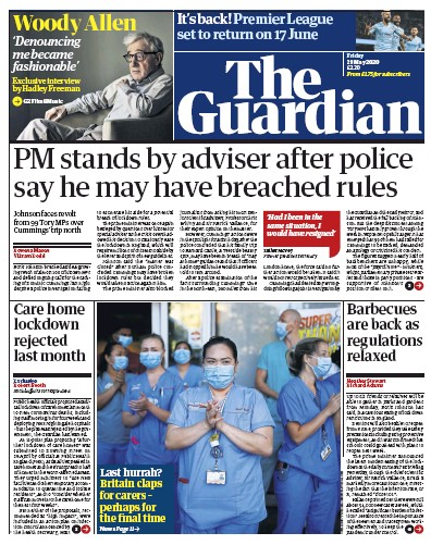 The Guardian Newspaper Front Page (UK) for 29 May 2020