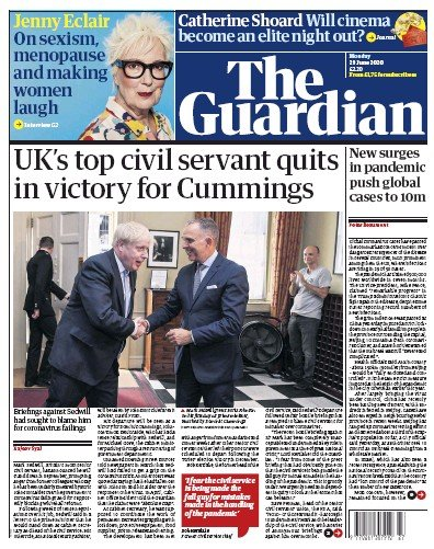 The Guardian Newspaper Front Page (UK) for 29 June 2020