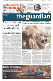 The Guardian (UK) Newspaper Front Page for 29 July 2015