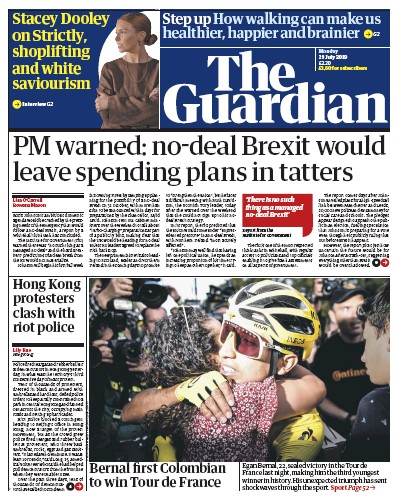 The Guardian Newspaper Front Page (UK) for 29 July 2019