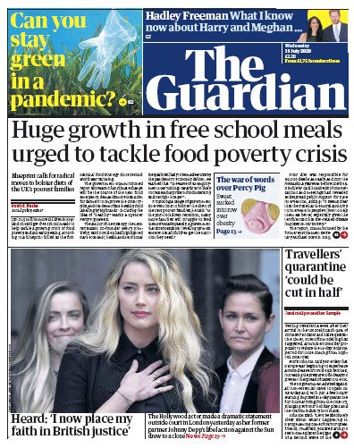 The Guardian Newspaper Front Page (UK) for 29 July 2020