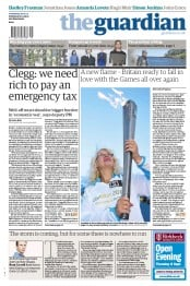The Guardian Newspaper Front Page (UK) for 29 August 2012