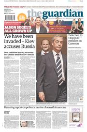 The Guardian (UK) Newspaper Front Page for 29 August 2014