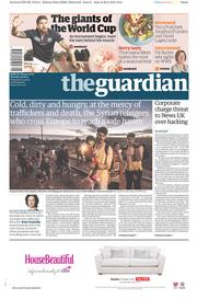 The Guardian (UK) Newspaper Front Page for 29 August 2015