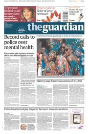 The Guardian (UK) Newspaper Front Page for 29 August 2017