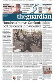 The Guardian (UK) Newspaper Front Page for 2 October 2017