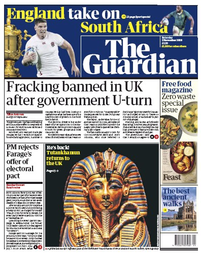 The Guardian Newspaper Front Page (UK) for 2 November 2019