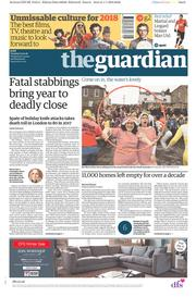 The Guardian (UK) Newspaper Front Page for 2 January 2018