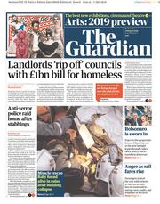 The Guardian (UK) Newspaper Front Page for 2 January 2019