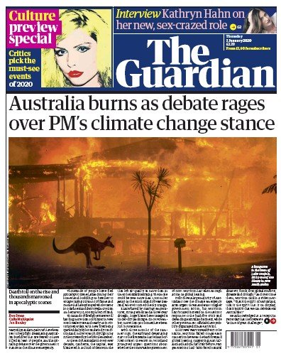The Guardian Newspaper Front Page (UK) for 2 January 2020