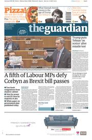 The Guardian (UK) Newspaper Front Page for 2 February 2017