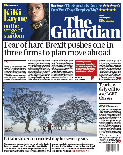 The Guardian Newspaper Front Page (UK) for 2 February 2019