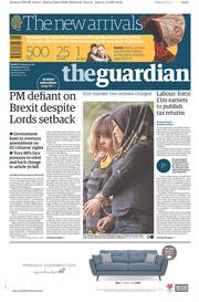 The Guardian (UK) Newspaper Front Page for 2 March 2017