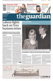The Guardian (UK) Newspaper Front Page for 2 April 2015
