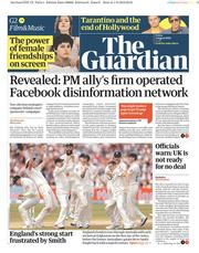 The Guardian (UK) Newspaper Front Page for 2 August 2019