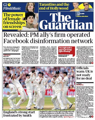 The Guardian Newspaper Front Page (UK) for 2 August 2019
