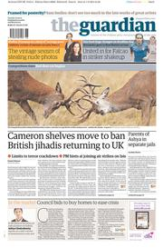 The Guardian (UK) Newspaper Front Page for 2 September 2014