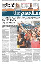 The Guardian (UK) Newspaper Front Page for 2 September 2015
