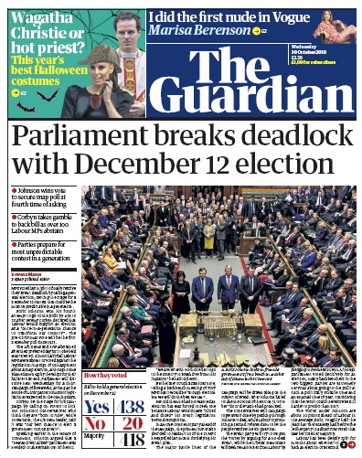 The Guardian Newspaper Front Page (UK) for 30 October 2019