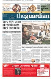 The Guardian (UK) Newspaper Front Page for 30 November 2017