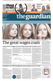 The Guardian (UK) Newspaper Front Page for 30 January 2015