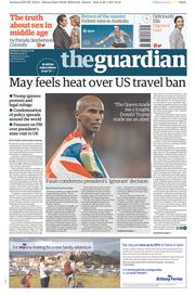 The Guardian (UK) Newspaper Front Page for 30 January 2017