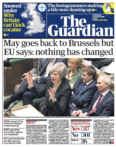 The Guardian Newspaper Front Page (UK) for 30 January 2019