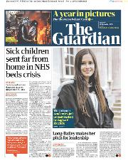 The Guardian (UK) Newspaper Front Page for 30 January 2020