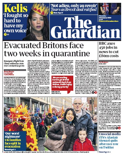 The Guardian Newspaper Front Page (UK) for 30 January 2020