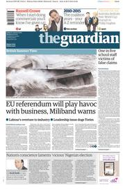 The Guardian (UK) Newspaper Front Page for 30 March 2015