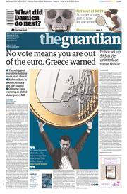 The Guardian (UK) Newspaper Front Page for 30 June 2015