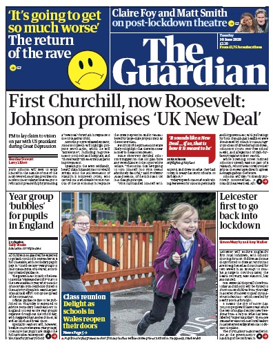 The Guardian Newspaper Front Page (UK) for 30 June 2020