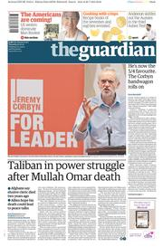 The Guardian (UK) Newspaper Front Page for 30 July 2015