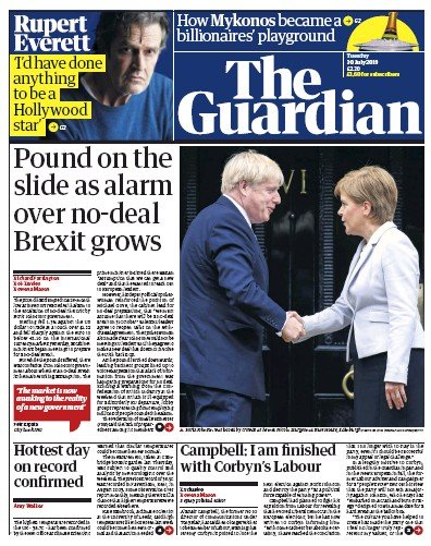 The Guardian Newspaper Front Page (UK) for 30 July 2019