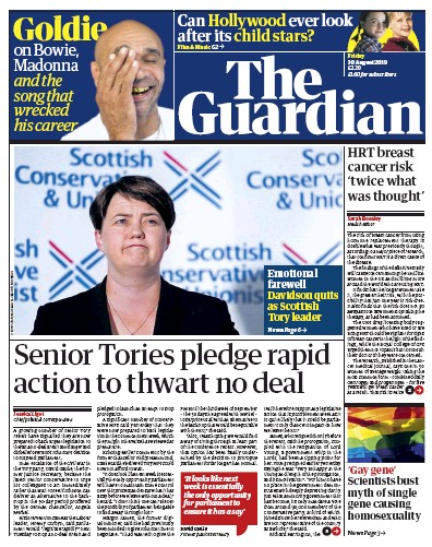The Guardian Newspaper Front Page (UK) for 30 August 2019