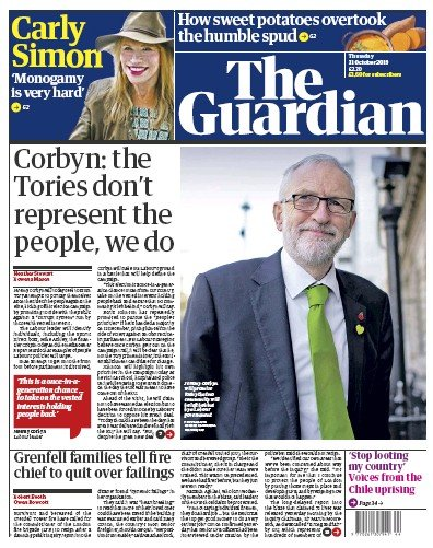 The Guardian Newspaper Front Page (UK) for 31 October 2019