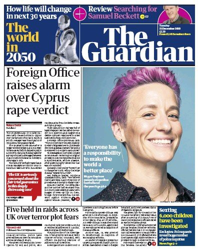 The Guardian Newspaper Front Page (UK) for 31 December 2019